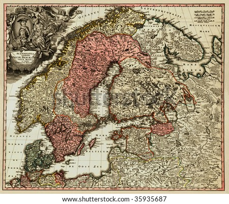 Antique map of Scandinavian (18 centuries, Latin language).