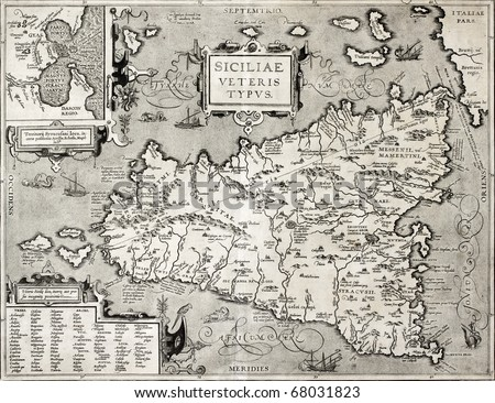 Antique map of Sicily with Syracuse detail. The original was created by Abraham Ortelius and published in 1601 within  Theatrum Orbis Terrarum (Theatre of the World), the first true modern atlas