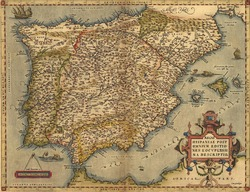 Antique Map of Spain,  by Abraham Ortelius, circa 1570