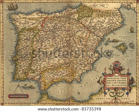 Antique Map of Spain,  by Abraham Ortelius, circa 1570