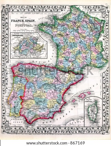 a map of spain and france. stock photo : Antique 1870 Map