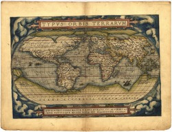 Antique Map of the World,  Antique map by Ortelius, circa 1570 Out of copyright