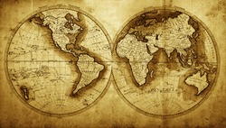 Antique map of the world (circa 1711 year)