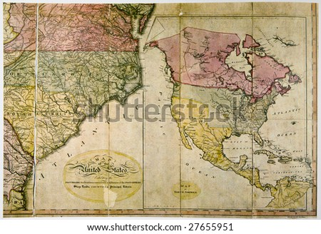 Antique map of United States c. 1800. Photo from old reproduction