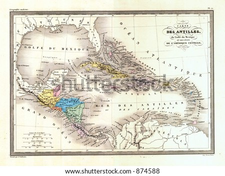 Antique 1870 Map of West Indies Caribbean