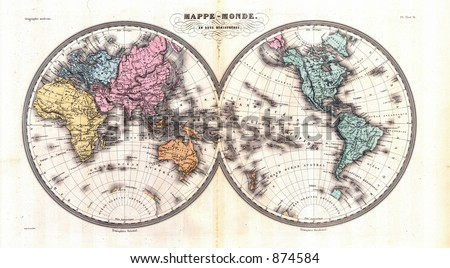 Antique 1870 Map of World in Hemispheres