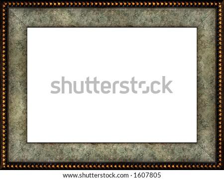 Antique marble grungy patterned photo frame isolated horizontal border