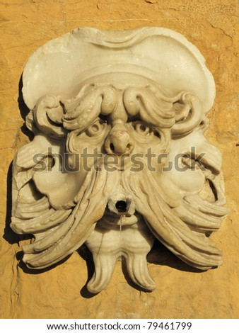 antique marble street drink water source, Florence, Italy