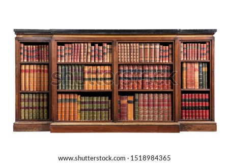 Antique marble top open bookcase with isolated on white Stockfoto ©