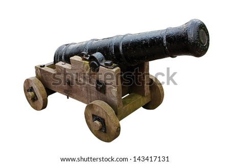 Antique medieval seige cannon used in the past to bombard castles and fortifications #143417131
