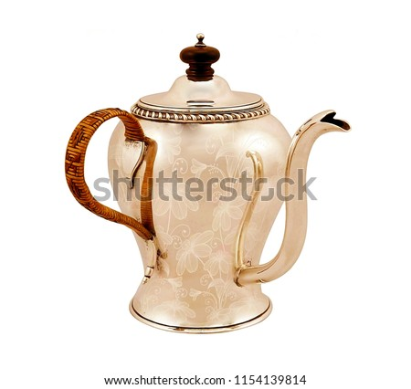 antique metal coffee pot on white isolated background.