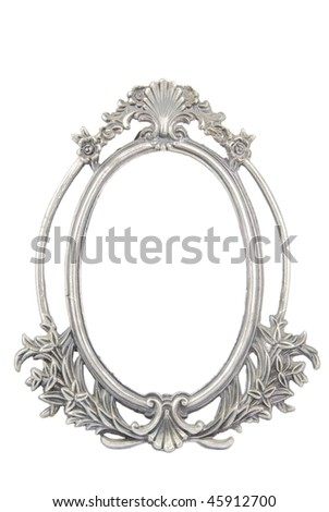 antique metal photo-frame isolated on white background - stock photo