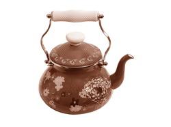 antique metal teapot on white background, luxury golden teapot, antique kettle, golden teapot, metal teapot, Vintage Golden Kettle