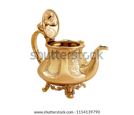 antique metal teapot on white background, luxury golden teapot, antique kettle, golden teapot, metal teapot - Shutterstock ID 1154139790