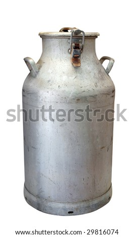 Antique Milk Can isolated with clipping Path - stock photo