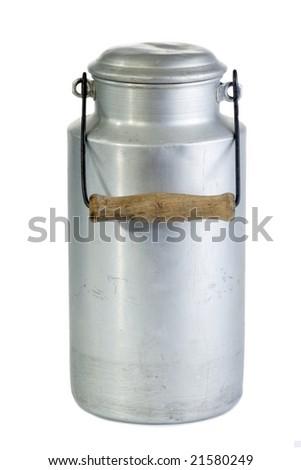 Antique milk jug isolated on white background