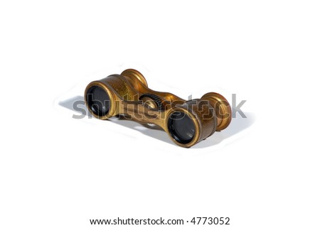 antique miniature opera glasses isolated on white