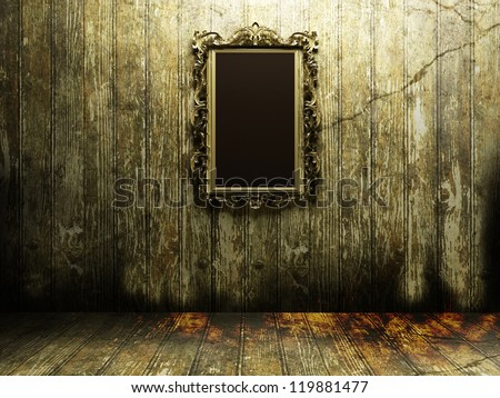 antique mirror in a dark and...