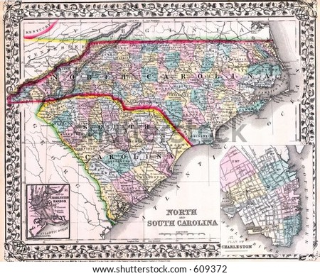 ANTIQUE MAPS, NORTH CAROLINA, HISTORIC OLD MAPS