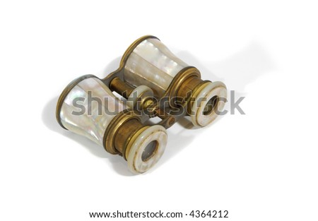 antique mother of pearl opera glasses isolated on white
