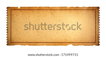 Antique Movie Ticket With Copy Space Isolated on White Background
