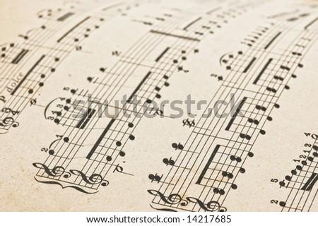 Antique music score,close up studio shot.
