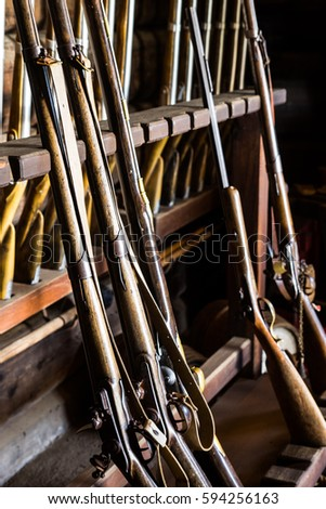 antique muskets in the armory...