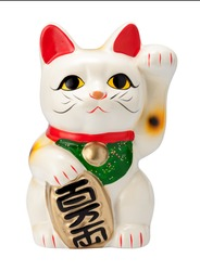 Antique Neko Cat isolated on white, with a clipping path.