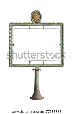Antique notice board isolated, empty, suitable for adding your text. Clipping path is included.