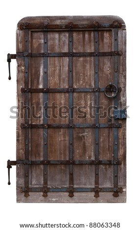 Antique oak doors reinforced with iron. Isolated on white background