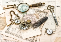 antique office accessories, old handwritten mails and vintage ink pen