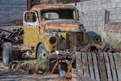 antique old abandoned rusted truck