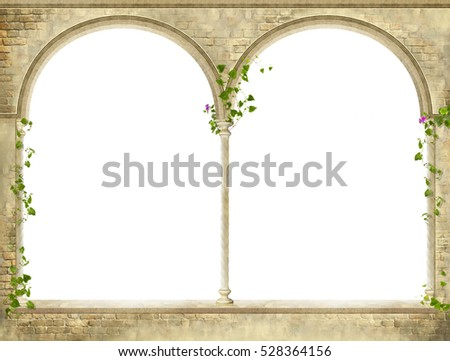 antique old archs on white...