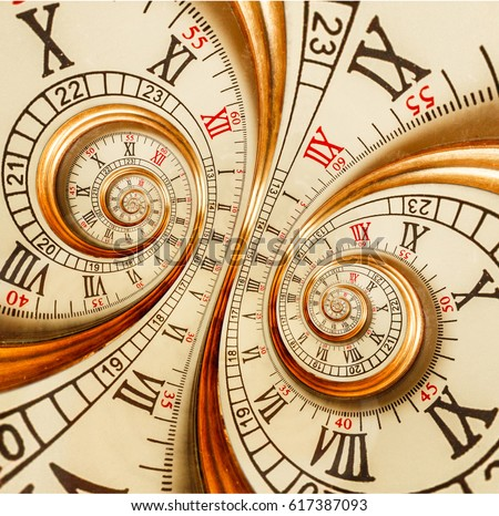Antique old clock abstract fractal double spiral Watch clock mechanism unusual abstract texture fractal pattern background Golden old fashion clock roman and arabic numerals Abstract spiral effect
