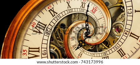 Antique old clock abstract fractal spiral. Watch classic clock mechanism unusual abstract texture fractal pattern background Old fashion clocks roman arabic numerals clock hands Abstract effect spiral