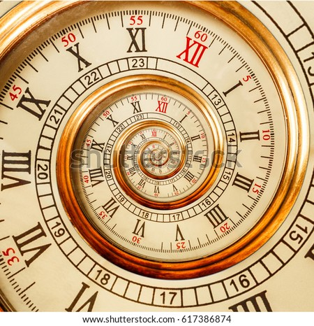 Antique old clock abstract fractal spiral. Watch clock mechanism unusual abstract texture fractal pattern background. Golden old fashion clock with roman and arabic numerals. Gimp Droste effect spiral