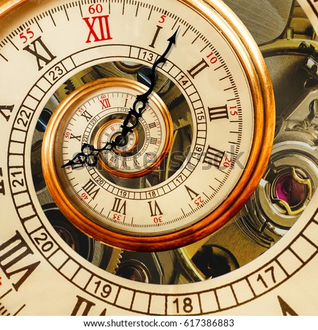 Antique old clock abstract fractal spiral. Watch clock mechanism unusual abstract texture fractal pattern background. Old fashion clock roman and arabic numerals clock hands. Gimp Droste effect spiral