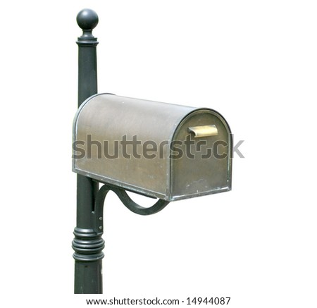 Antique, old mailbox, isolated over white background