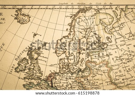 Antique old map Northern Europe