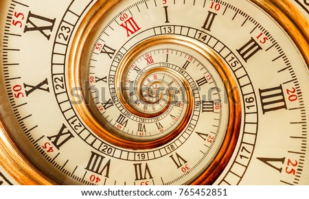 Antique old spiral clock abstract fractal. Watch clock mechanism unusual abstract texture fractal pattern background. Golden old fashion clock with roman arabic numerals Abstract time spiral effect