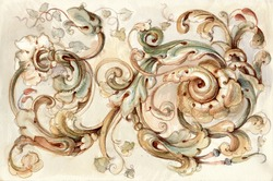 antique ornament, watercolor