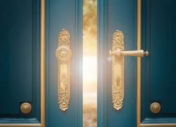 antique ornate gold door handle