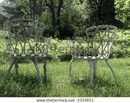 Antique outdoor chairs post-processed for vintage feel