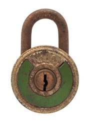 Antique padlock green color on white background