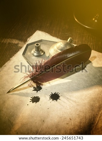 Antique parchment paper sheets lit by candlelight on a vintage colonial wood desk with ink writing feather quill and old candle light in candleholder in master painting style