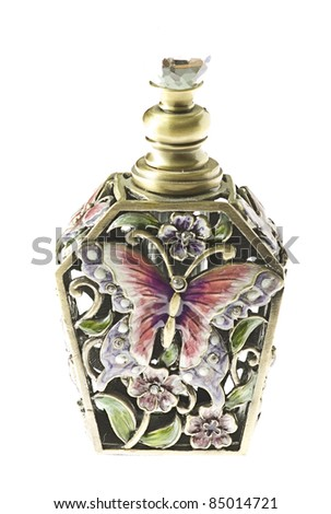 antique perfume bottle isolated on a white background