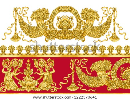 Antique Period Baroque Gold Red White Background Pattern