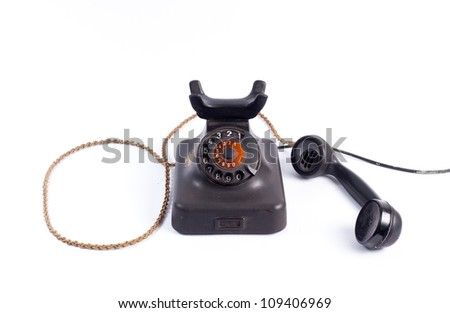 Antique phone on a white background