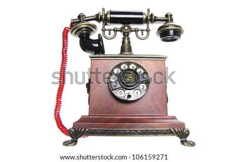 Antique Phone on White Background
