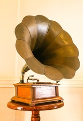 Antique Phonograph in the living room,thailand.